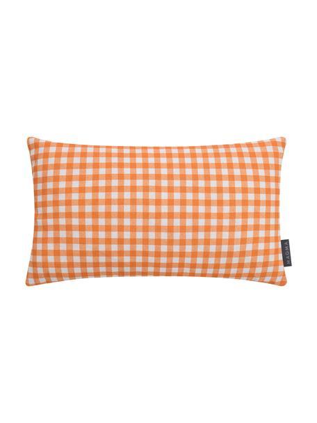 Geruite kussenhoes Picnic, Weeftechniek: half panama, Oranje, wit, 30 x 50 cm