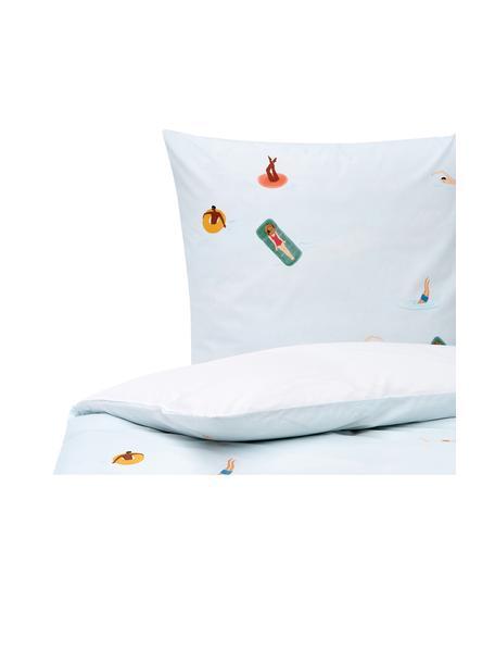 Pościel z perkalu Swim, Biały, niebieski, wielobarwny, 135 x 200 cm + 1 poduszka 80 x 80 cm
