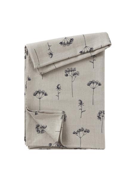 Mantel de algodón Leaf, 100%algodón, Beige, negro, De 4 a 6 comensales (An 145 x L 200 cm)