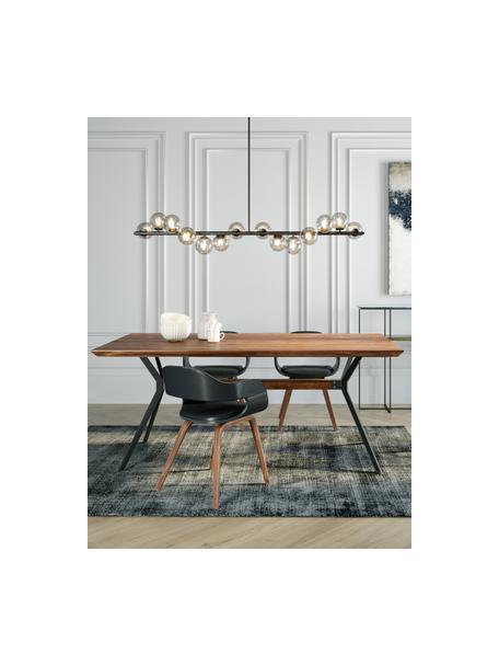 Eettafel Downtown met massief houten blad, Tafelblad: massief gelakt walnoothou, Poten: gepoedercoat staal, Bruin, zwart, 180 x 90 cm