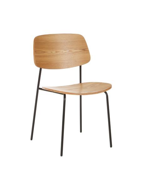 Sillas Nadja, 2uds., Asiento: madera contrachapada con , Patas: metal con pintura en polv, Fresno, An 50 x Al 53 cm