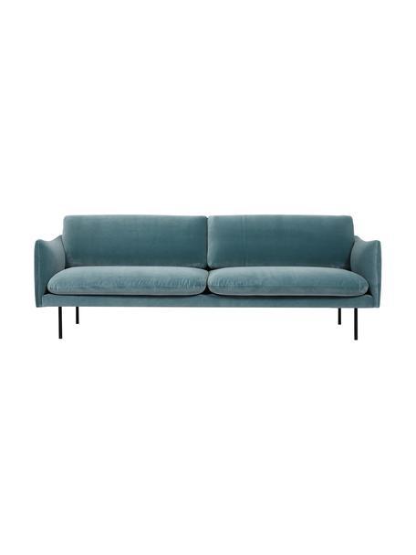 Fluwelen bank Moby (3-zits) in turquoise met metalen poten, Bekleding: geweven stof (polyester), Frame: massief grenenhout, Poten: gelakt metaal, Fluweel turquoise, B 220 x D 95 cm