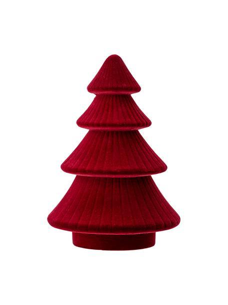 Fluwelen decoratief object Tree, MDF, polyester fluweel, Rood, Ø 14 cm