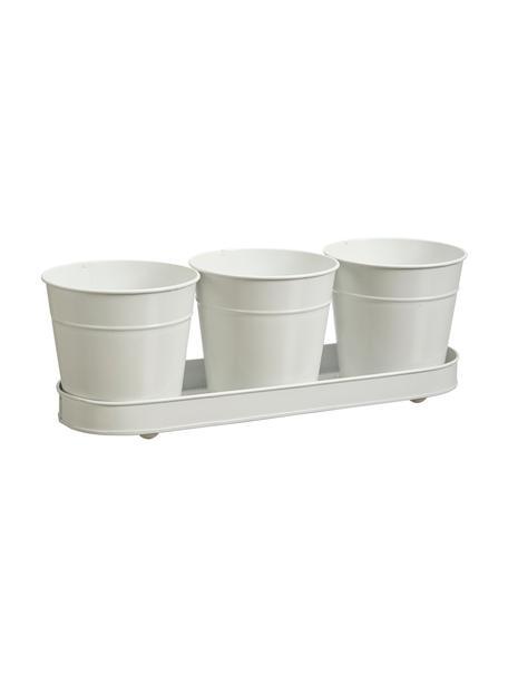 Kleines Übertopf-Set Nilla, 4-tlg., Metall, beschichtet, Weiß, Set mit verschiedenen Größen