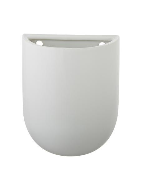 Ścienna osłonka na doniczkę z ceramiki Oval, Ceramika, Biały, S 15 x W 19 cm