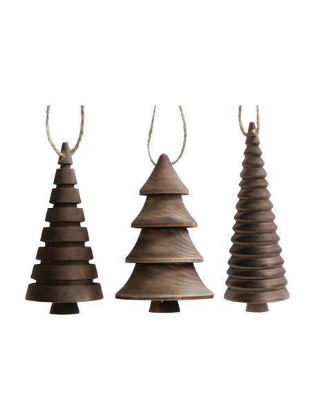 Adornos navideños Abiola, 3uds., Adornos: madera, Marrón, Ø 6 x Al 13 cm