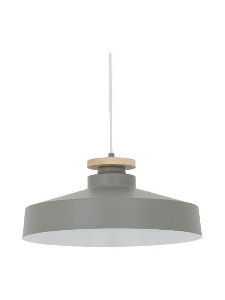 Scandi hanglamp Malm, Lampenkap: metaal, hout, Baldakijn: metaal, Grijs, Ø 40 x H 20 cm
