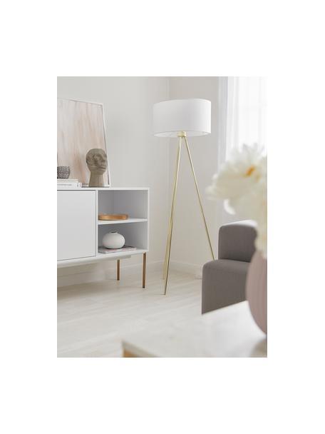 Driepoot vloerlamp Cella met stoffen kap, Lampenkap: katoenmix Lampvoet, Lampvoet: glanzend goudkleurig. Lampenkap: wit, Ø 48 x H 158 cm