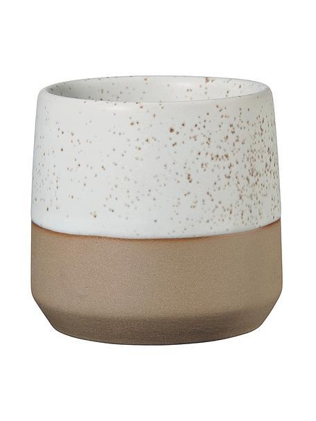 XS beker Caja in mat bruin/beige, Keramiek, Beige, bruin, Ø 7 x H 7 cm