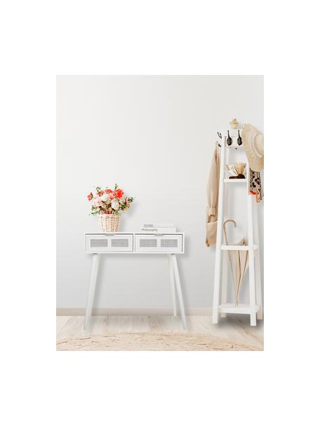 Wandtafel Cayetana van hout, Frame: gelakt MDF, Handvatten: metaal, Poten: bamboehout, gelakt, Wit, 80 x 79 cm
