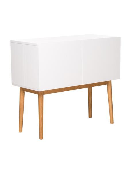 Mała komoda z wysokim połyskiem High on Wood, Korpus: średniej gęstości płyta p, Nogi: masywne drewno dębowe, Biały, naturalny, S 90 x W 80 cm