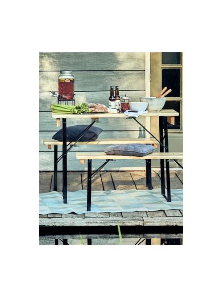Bancos con mesa de exterior Good Company, Madera de pino, metal, pintado, Pino, negro, Set de diferentes tamaños