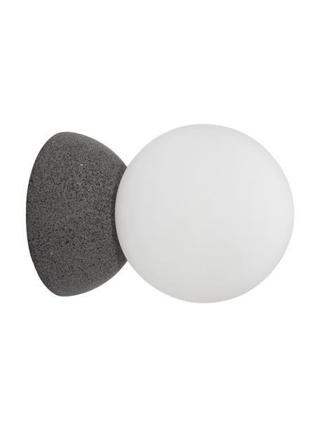 Wand- en plafondlamp Zero van beton, Lampenkap: opaalglas, Grijs, wit, Ø 10 x D 14 cm