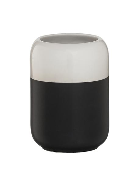 Kubek na szczoteczki Sphere, Porcelana, Czarny, biały, Ø 7 x W 10 cm