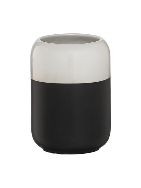 Kubek na szczoteczki z porcelany Sphere, Porcelana, Czarny, biały, Ø 7 x W 10 cm