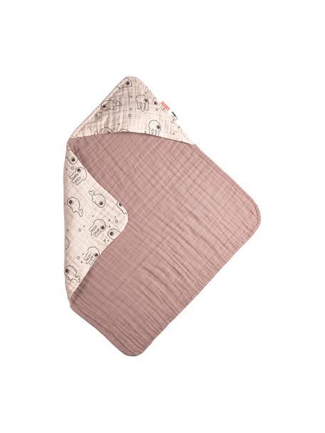 Asciugamano per bambini Sea Friends, 100% cotone, certificato Oeko-Tex, Rosa, Larg. 70 x Lung. 70 cm