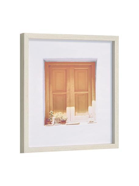 Oprawiony druk cyfrowy Leyla Window, Odcienie brązowego, biały, S 40 x W 40 cm