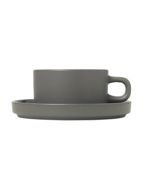 Tasse Pilar in Dunkelgrau matt/glänzend, 2 Stück, Keramik, Dunkelgrau, Ø 9 x H 5 cm