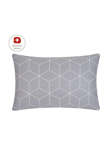 Baumwoll-Kissenbezug Lynn mit grafischem Muster, 65 x 100 cm, Webart: Renforcé Fadendichte 144 , Grau, Cremeweiss, 65 x 100 cm