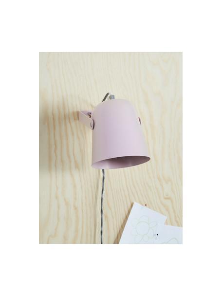 Aplique Iluminar, con enchufe, Pantalla: metal pintado, Cable: cubierto en tela, Rosa, An 14 x Al 18 cm