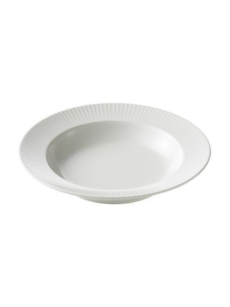 Piatto fondo bianco con struttura rigata Groove 4 pz, Gres, Bianco, Ø 23 x Alt. 4 cm