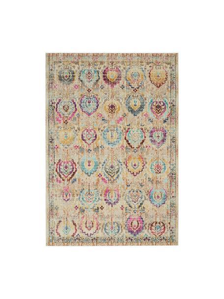 Niederflor-Teppich Kashan Vintage mit bunten Ornamenten, Flor: 100% Polypropylen, Beige, Mehrfarbig, B 270 x L 360 cm (Größe XL)