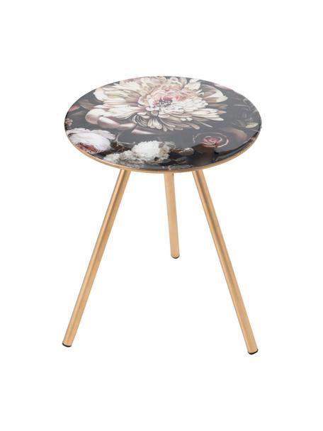Stolik pomocniczy Rosa, Blat: szkło, Nogi: metal, Czarny, odcienie złotego, wielobarwny, Ø 35 x W 38 cm