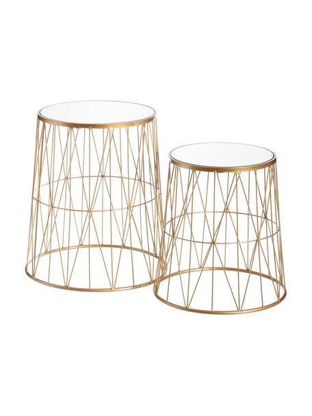 Komplet stolików pomocniczych z metalu ze szklanym blatem Megan, 2 elem., Blat: szkło lustrzane, Odcienie złotego, szkło lustrzane, Komplet z różnymi rozmiarami