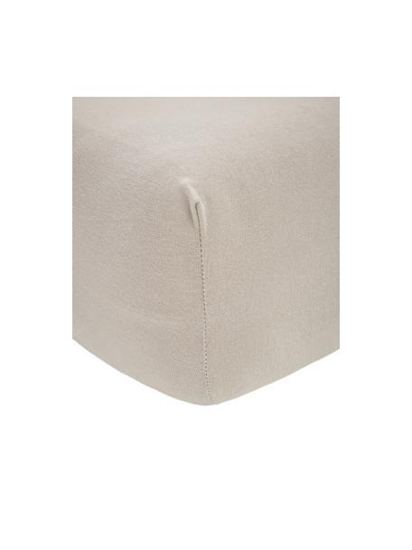 Prześcieradło z gumką z jerseu i elastanem Lara, 95% bawełna, 5% elastan, Taupe, S 90-100 x D 200 cm