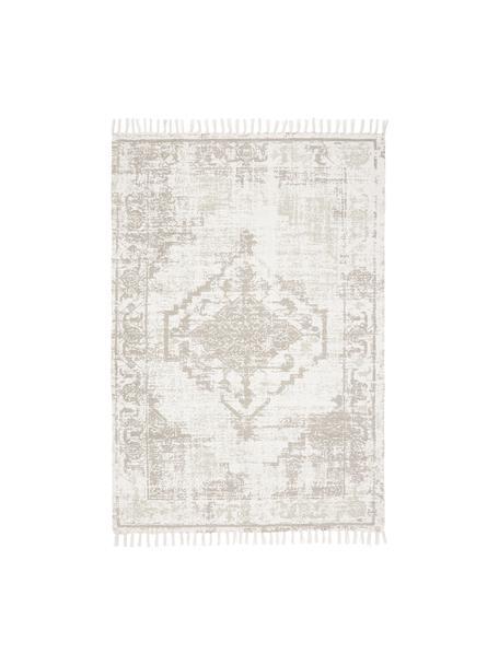 Dünner Baumwollteppich Jasmine in Beige/Taupe im Vintage-Style, handgewebt, Beige, B 50 x L 80 cm (Größe XXS)