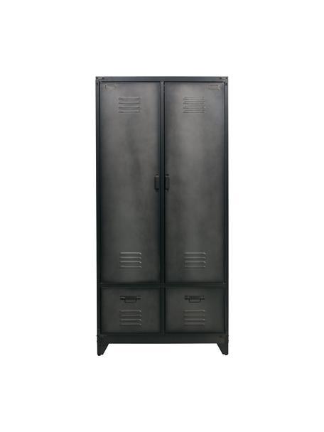 Metalen kast Wonen in zwart, Gecoat metaal, Zwart, 90 x 190 cm