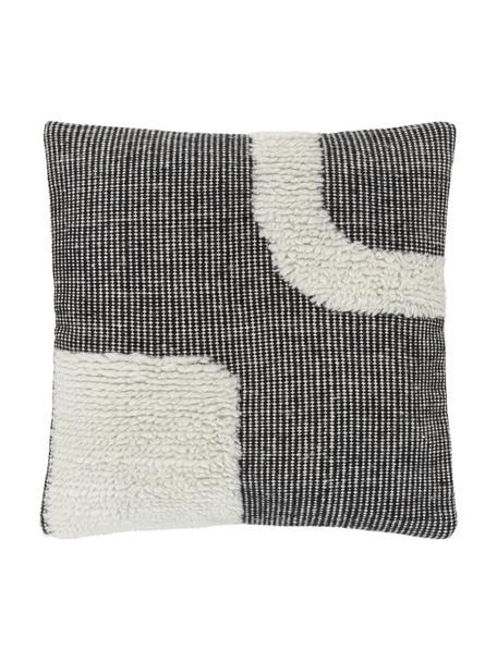 Handgewebte Kissenhülle Wool in Schwarz/Cremeweiß mit kuschligem Muster, Vorderseite: 89% Wolle, 11% Baumwolle, Rückseite: 100% Baumwolle, Schwarz, 45 x 45 cm