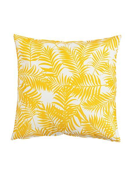 Outdoor kussen Gomera met bladpatroon, met vulling, 100% polyester, Geel, 45 x 45 cm