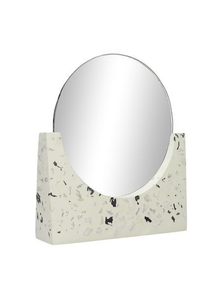 Okrągłe lusterko kosmetyczne z podstawą z lastriko Mirriam, Biały, S 17 x W 17 cm