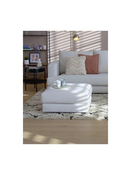 Poggiapiedi da divano in tessuto beige Tribeca, Struttura: legno di pino massiccio, Piedini: legno di faggio massiccio, Tessuto beige, Larg. 80 x Alt. 40 cm
