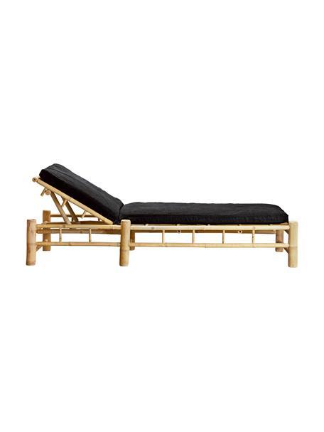 Leżak ogrodowy z drewna bambusowego Bambed, Stelaż: drewno bambusowe, Tapicerka: 100% bawełna, Ciemnyszary, brązowy, S 80 x D 210 cm