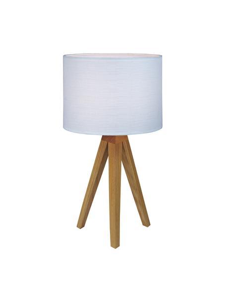 Tafellamp Kullen van eikenhout, Lampvoet: eikenhout, Lampenkap: polyester, Lampvoet: eikenhoutkleurig. Lampenkap: wit, Ø 23 x H 44 cm