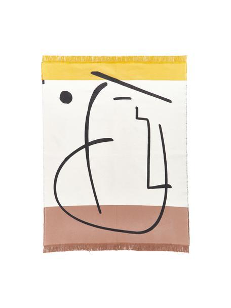 Vloerkleed Goliath gezicht met franjes en geometrisch patroon, 150x200cm, Gerecycled katoen, Multicolour, B 150 x L 200 cm (maat S)