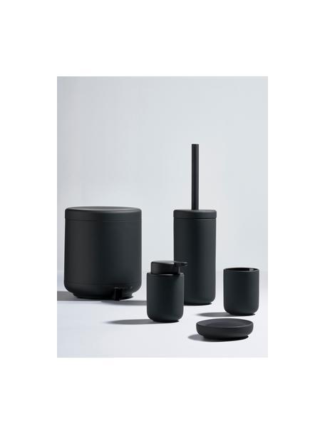 Tandenborstelbeker Ume van keramiek, Keramiek overtrokken met soft-touch oppervlak (kunststof), Mat zwart, Ø 8 x H 10 cm