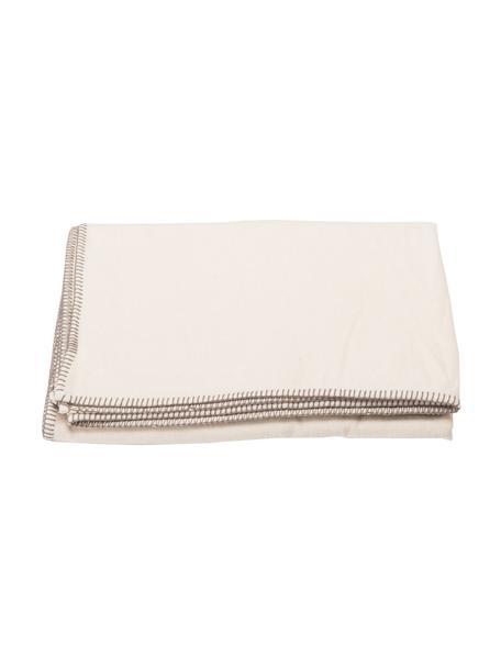 Coperta in cotone bianco crema con cuciture decorative Sylt, 85% cotone, 15% poliacrilico, Bianco crema, Larg. 140 x Lung. 200 cm