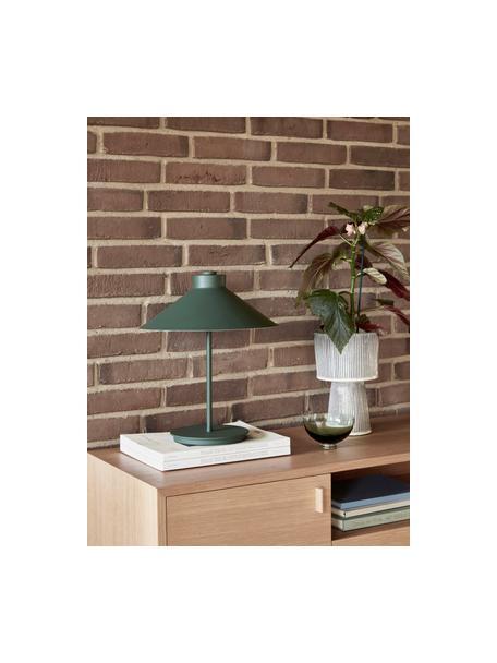 Design tafellamp Garniur in donkergroen, Lampenkap: gelakt metaal, Lampvoet: gelakt metaal, Donkergroen, Ø 30 x H 38 cm
