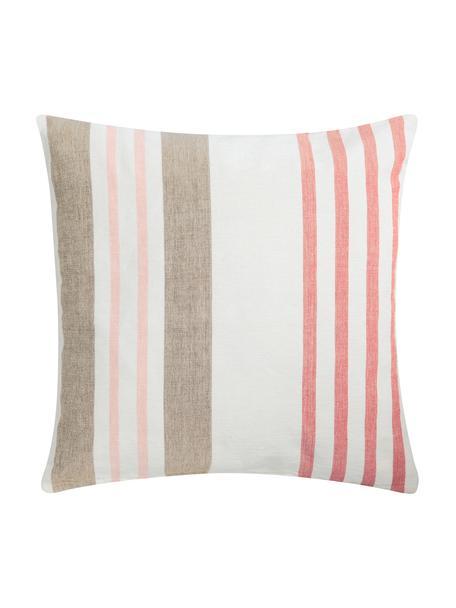 Cuscino a righe in corallo/bianco Timon, Custodia: 100% cotone, Bianco, marrone, rosa, Larg. 45 x Lung. 45 cm