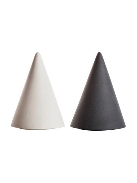 Set saliera e pepiera di design Cone 2 pz, Porcellana, silicone, Bianco, antracite, Ø 6 x Alt. 8 cm