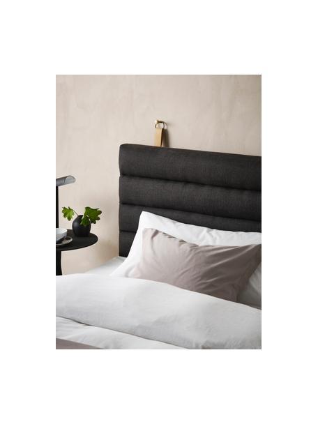 Cabecero tapizado Amsterdam, Funda: 100%lino, Estructura: madera contrachapada, Asas: cuero sintético, Gris antracita, An 120 x Al 60 cm