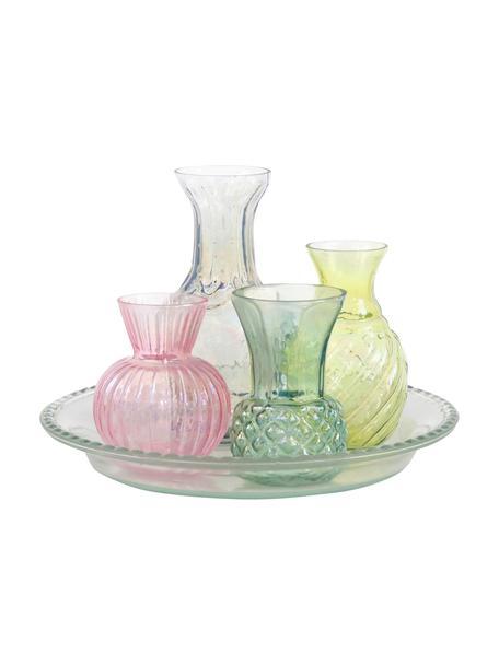 Set de jarrones de vidrio Poesie, 5pzas., Vidrio, Multicolor, Set de diferentes tamaños