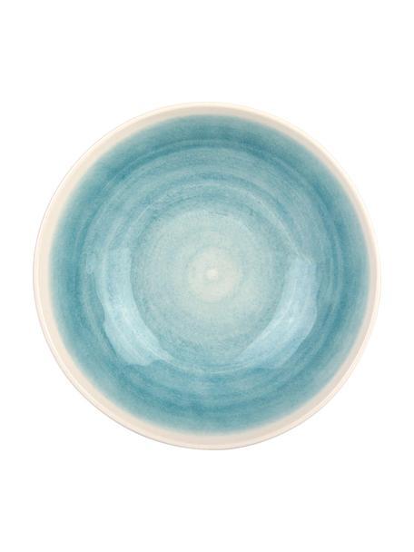 Handgemaakte saladeschaal Pure mat/glanzend met kleurverloop, Ø 26 cm, Keramiek, Blauw, wit, Ø 26 x H 7 cm