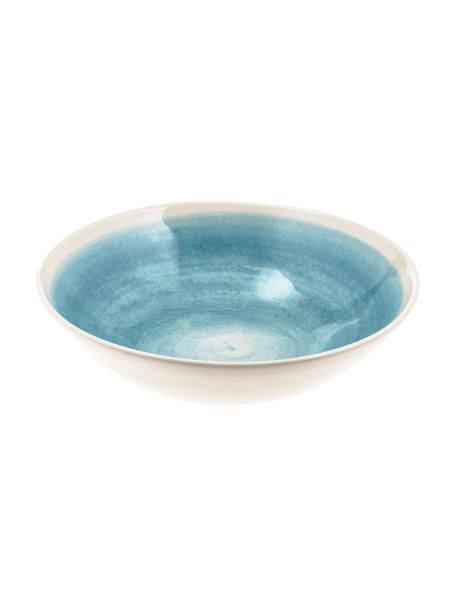 Ręcznie wykonana misa do sałatek Pure, Ceramika, Niebieski, biały, Ø 26 x W 7 cm