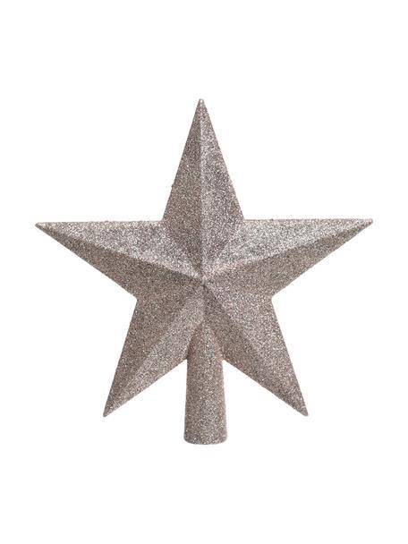 Bruchsichere Weihnachtsbaumspitze Stern Ø 19 cm, Kunststoff, Glitzer, Rosa, 19 x 19 cm