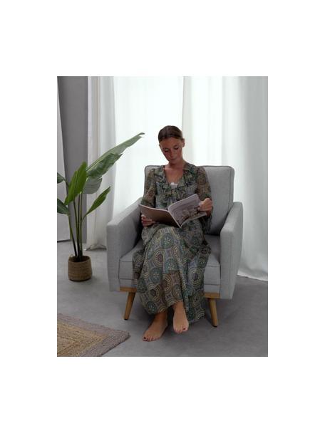 Poltrona in velluto grigio chiaro con piedini in legno Saint, Rivestimento: poliestere 50.000 cicli d, Struttura: legno di pino massiccio, , Tessuto grigio chiaro, Larg. 85 x Prof. 76 cm