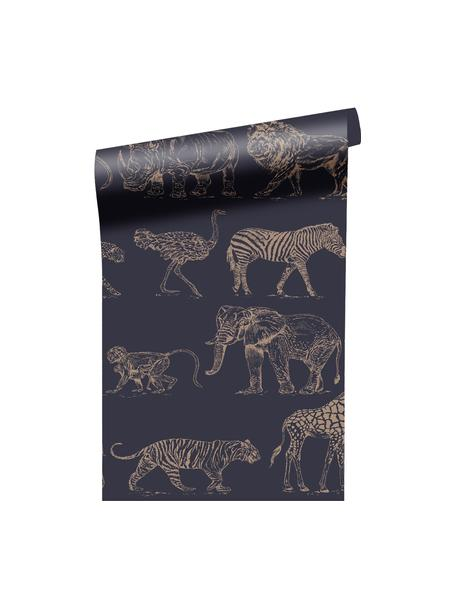 Papel pintado Safari, Tejido no tejido, Azul oscuro, beige, An 52 x Al 1005 cm
